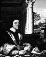 """""""Retrato de Ferry Carondelet con sus secretarios"""" (1510-12), del pintor Sebastiano del Piombo, coetáneo y retratista de León el Africano"""