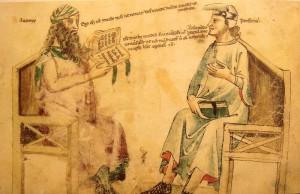 """Debate imaginario entre Averroes y Porfirio (""""Liber de herbis"""", s. XIV)"""