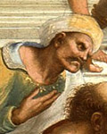 """Averroes en """"La Escuela de Atenas"""" (Rafael, 1509)"""