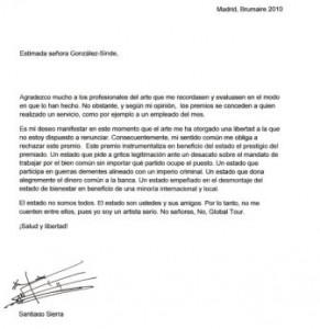 La célebre carta de Sierra rechazando el Premio Nacional de Artes Plásticas y su dotación económica